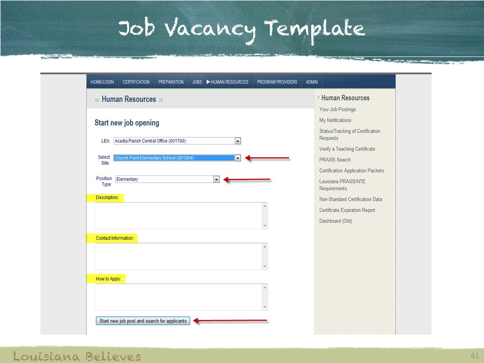 Job Vacancy Template Louisiana Believes