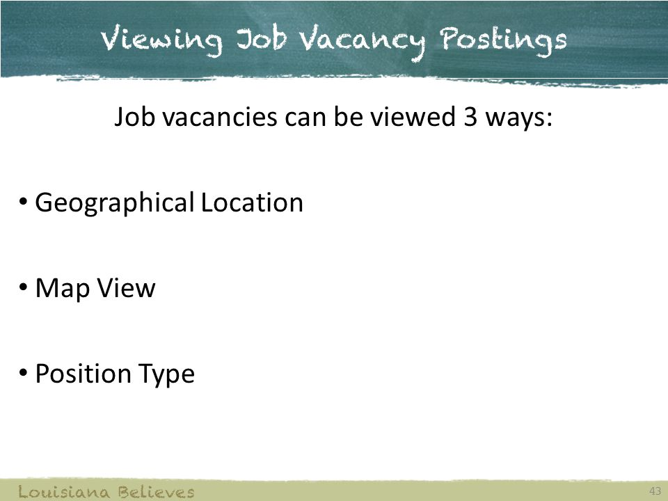 Viewing Job Vacancy Postings