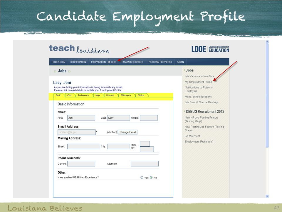 Candidate Employment Profile