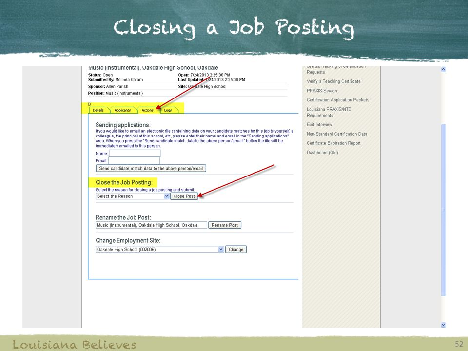 Closing a Job Posting Louisiana Believes