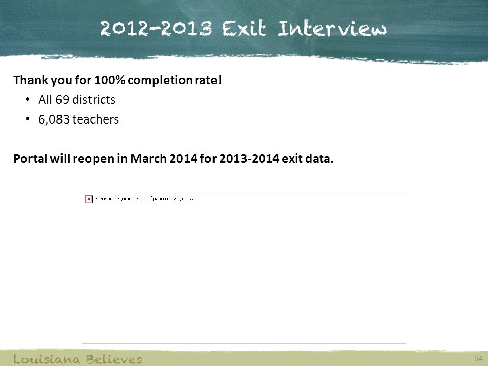 2012-2013 Exit Interview Thank you for 100% completion rate!