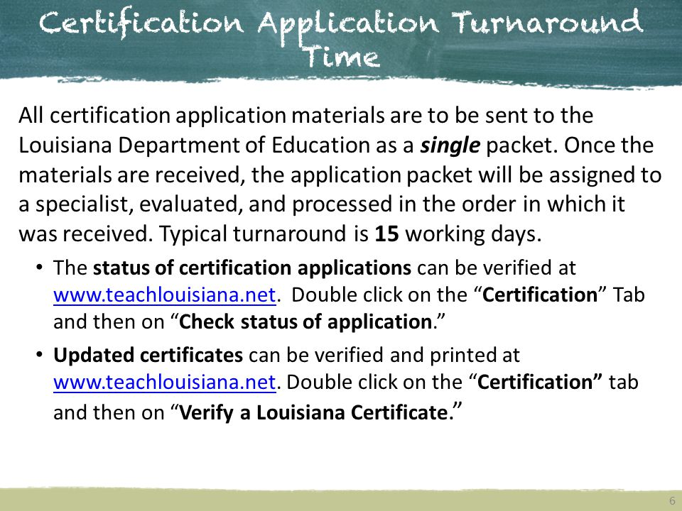 Certification Application Turnaround Time