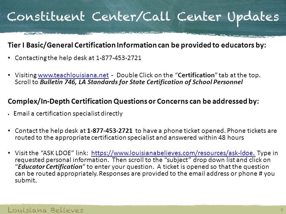 Constituent Center/Call Center Updates