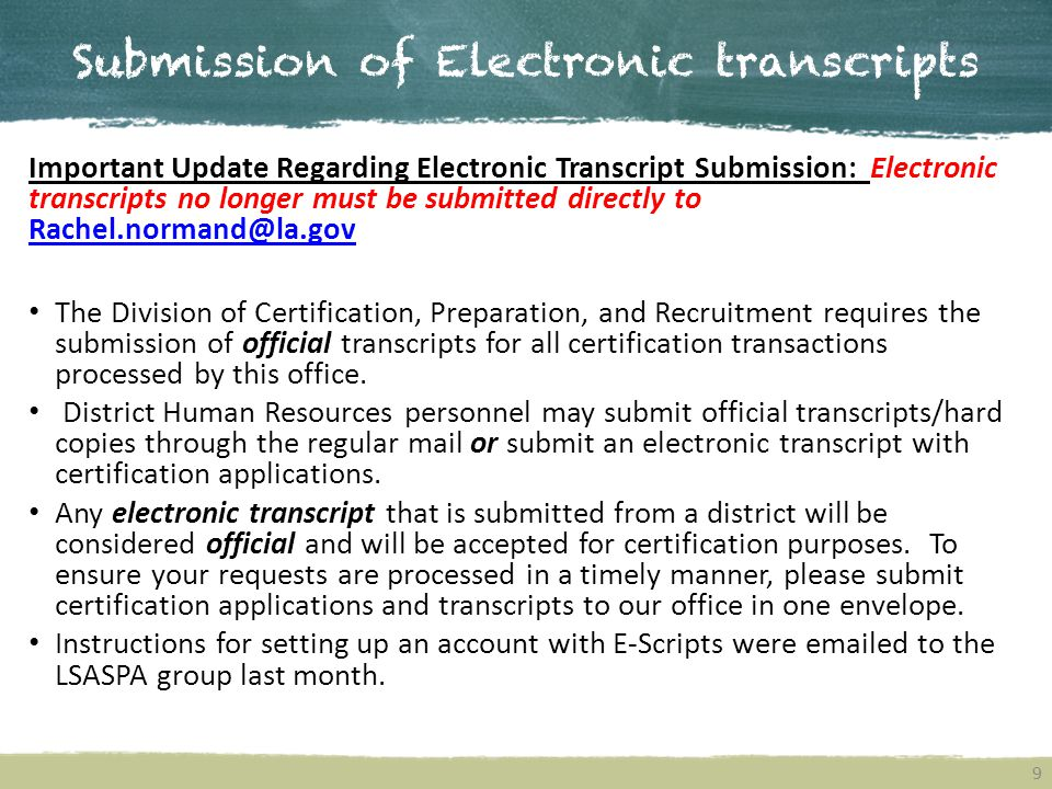 Submission of Electronic transcripts