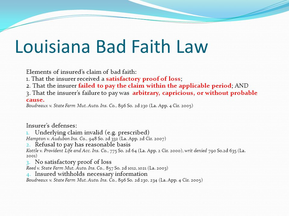 Louisiana Bad Faith Law