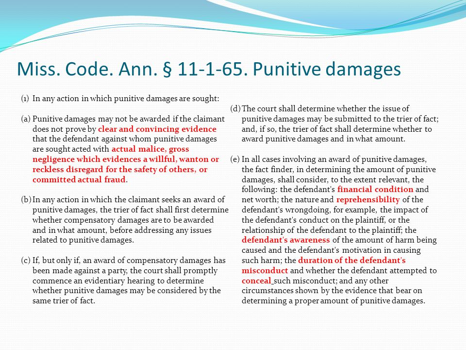 Miss. Code. Ann. § 11-1-65. Punitive damages