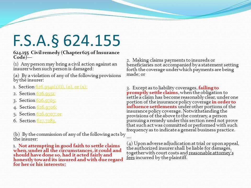 F.S.A.§ 624.155