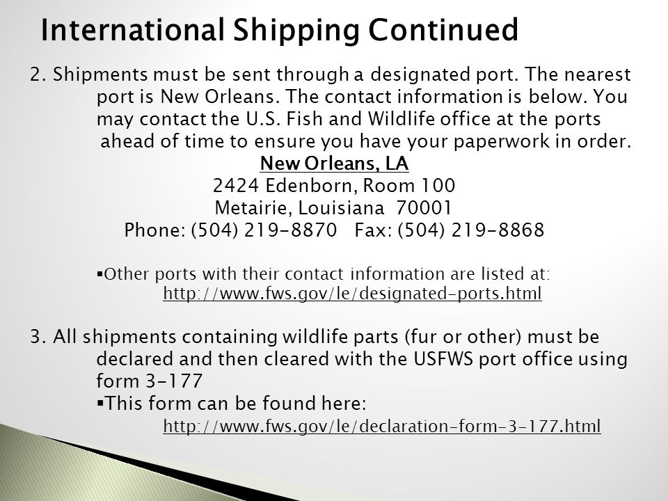 International Shipping Continued