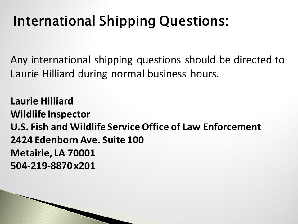 International Shipping Questions: