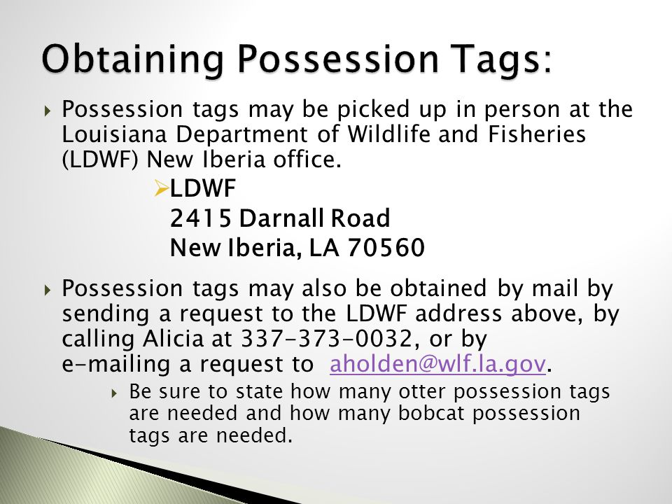 Obtaining Possession Tags: