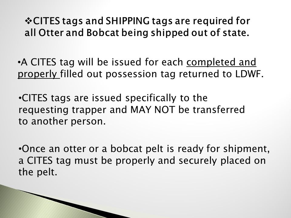 CITES tags and SHIPPING tags are required for all Otter and Bobcat being shipped out of state.
