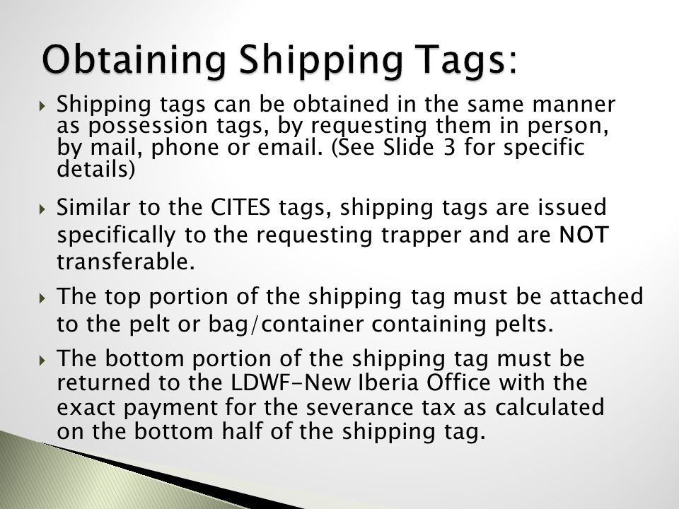 Obtaining Shipping Tags: