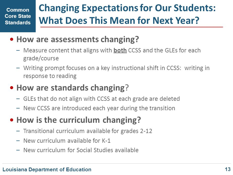 Changing Expectations for Our Students: