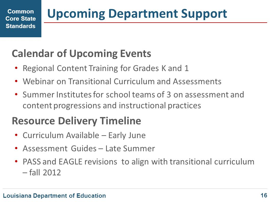 Upcoming Department Support