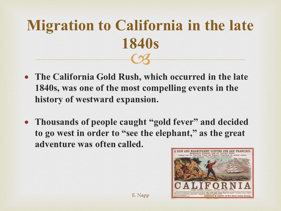 Migration to California in the late 1840s