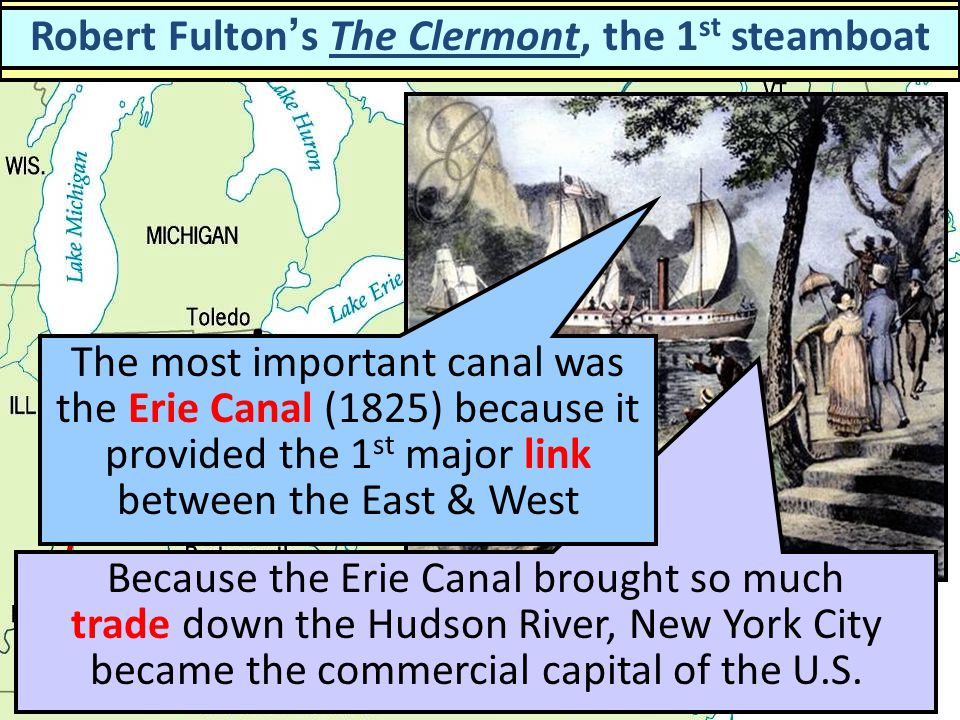 Major Canals by 1840 Robert Fulton's The Clermont, the 1st steamboat