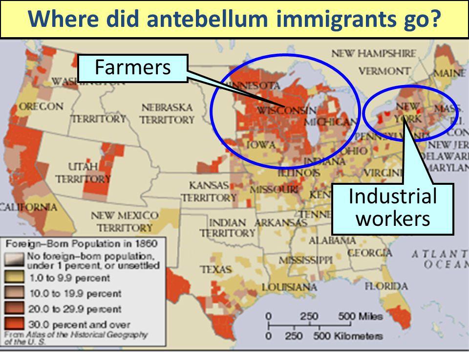 Where did antebellum immigrants go
