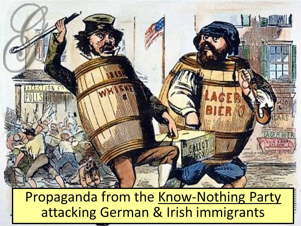 Propaganda from the Know-Nothing Party attacking German & Irish immigrants