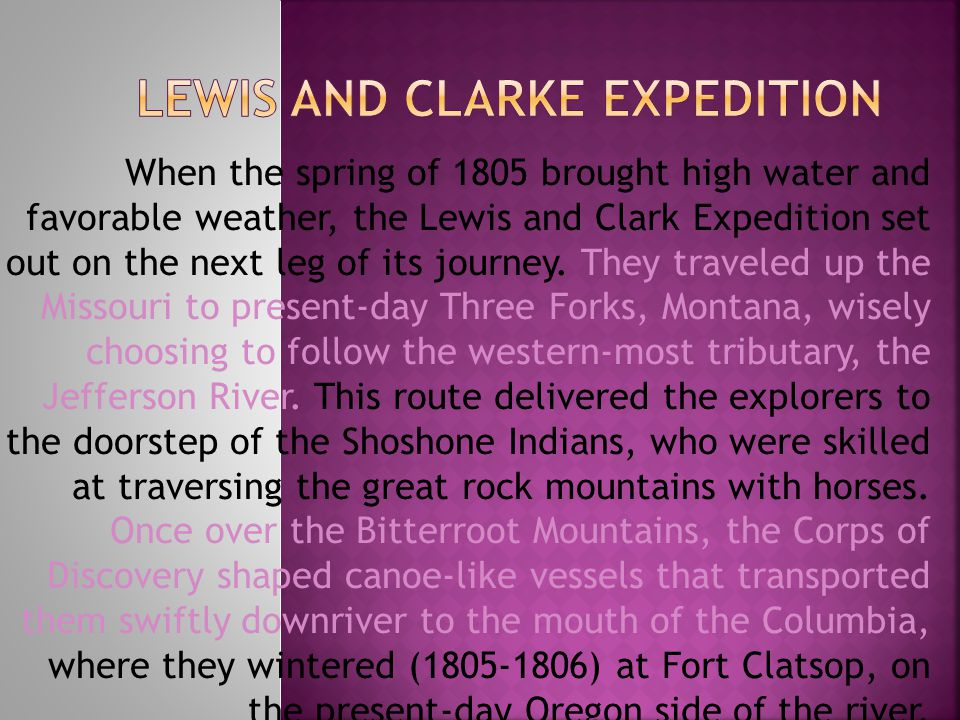 LEWIS AND CLARKE EXPEDITION