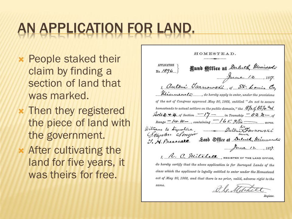 An application for land.