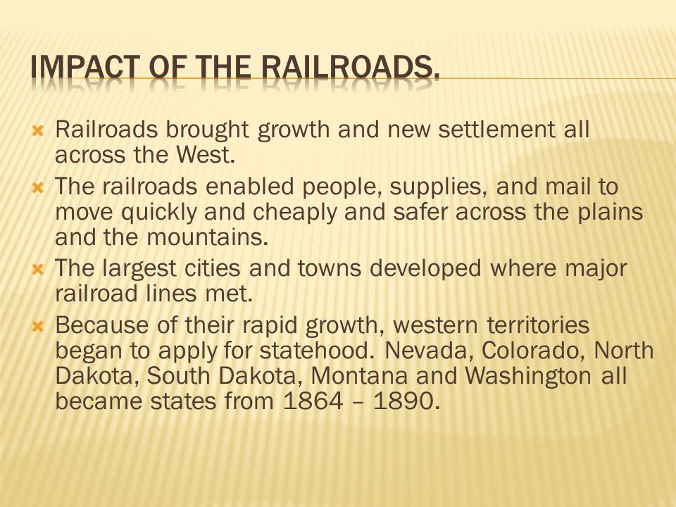 railroads impact on washington He then headed to washington,  collis huntington and mark hopkins all were ambitious businessmen with no prior experience with railroads,.