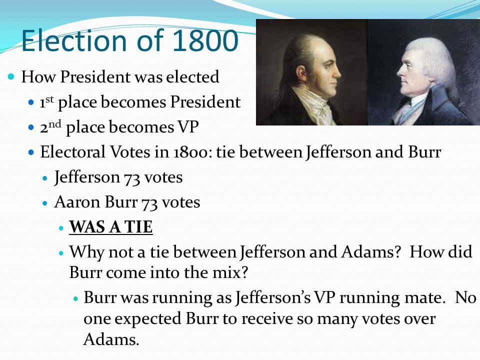 Election of 1800 How President was elected 1st place becomes President