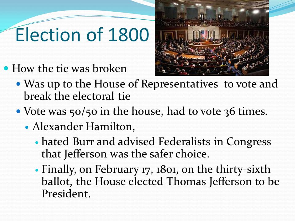 Election of 1800 How the tie was broken