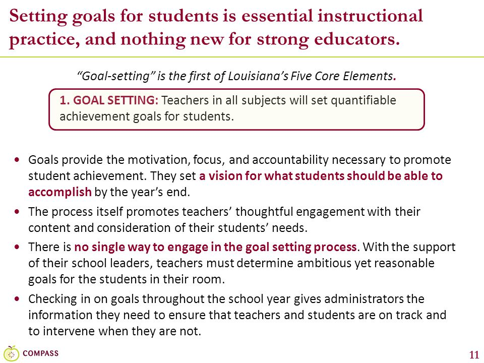 Goal-setting is the first of Louisiana's Five Core Elements.