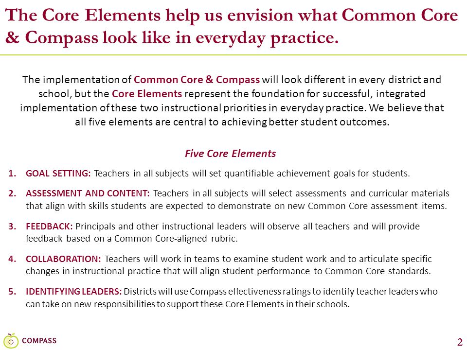 The Core Elements help us envision what Common Core & Compass look like in everyday practice.