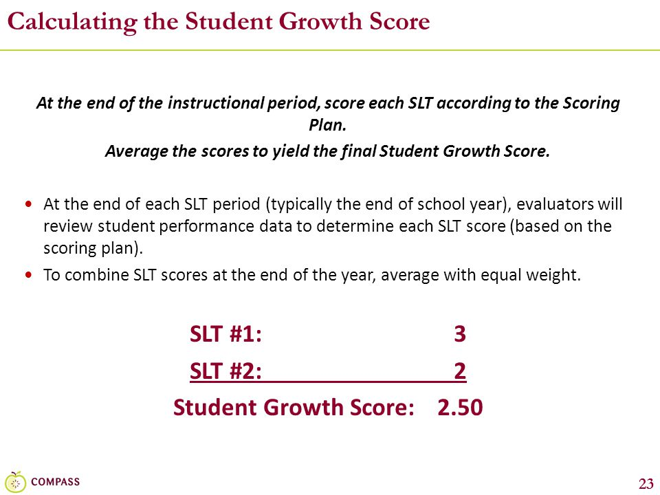 Calculating the Student Growth Score