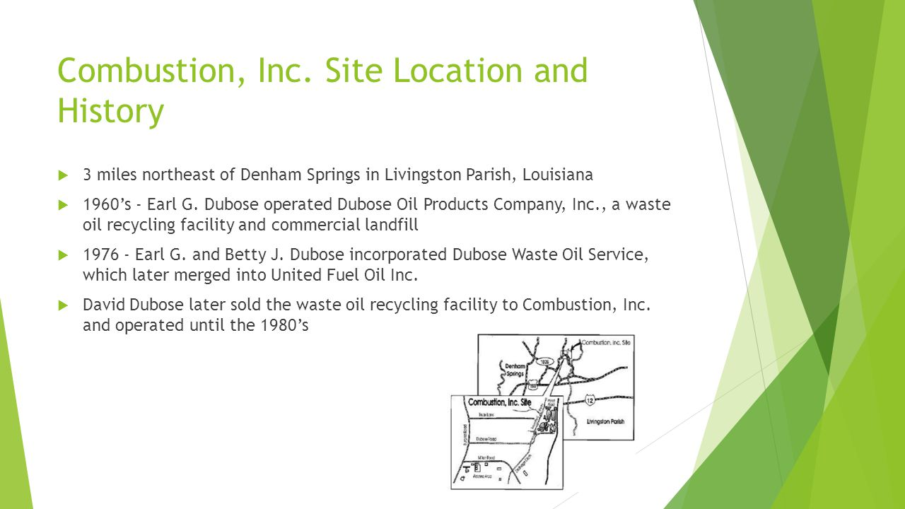 Combustion, Inc. Site Location and History
