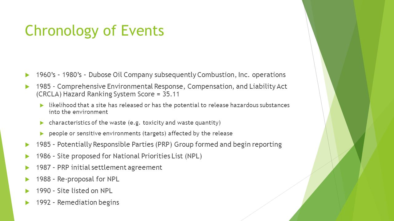 Chronology of Events 1960's – 1980's – Dubose Oil Company subsequently Combustion, Inc. operations.