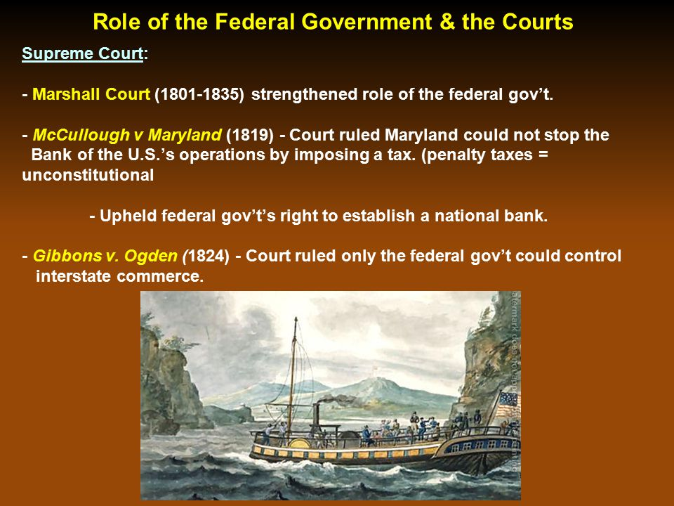 Role of the Pres. Jackson & the Federal Government