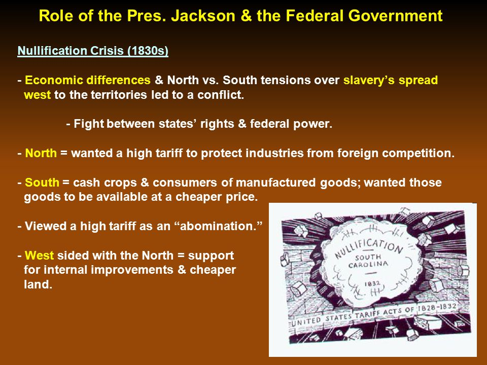 Role of the Pres. Jackson & the Federal Gov't Cont.