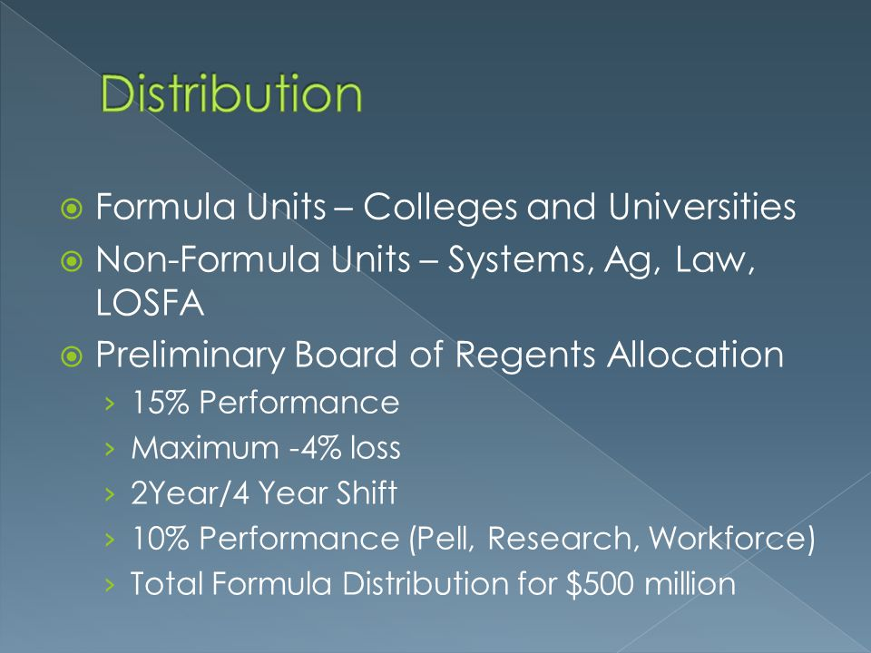 Distribution Formula Units – Colleges and Universities