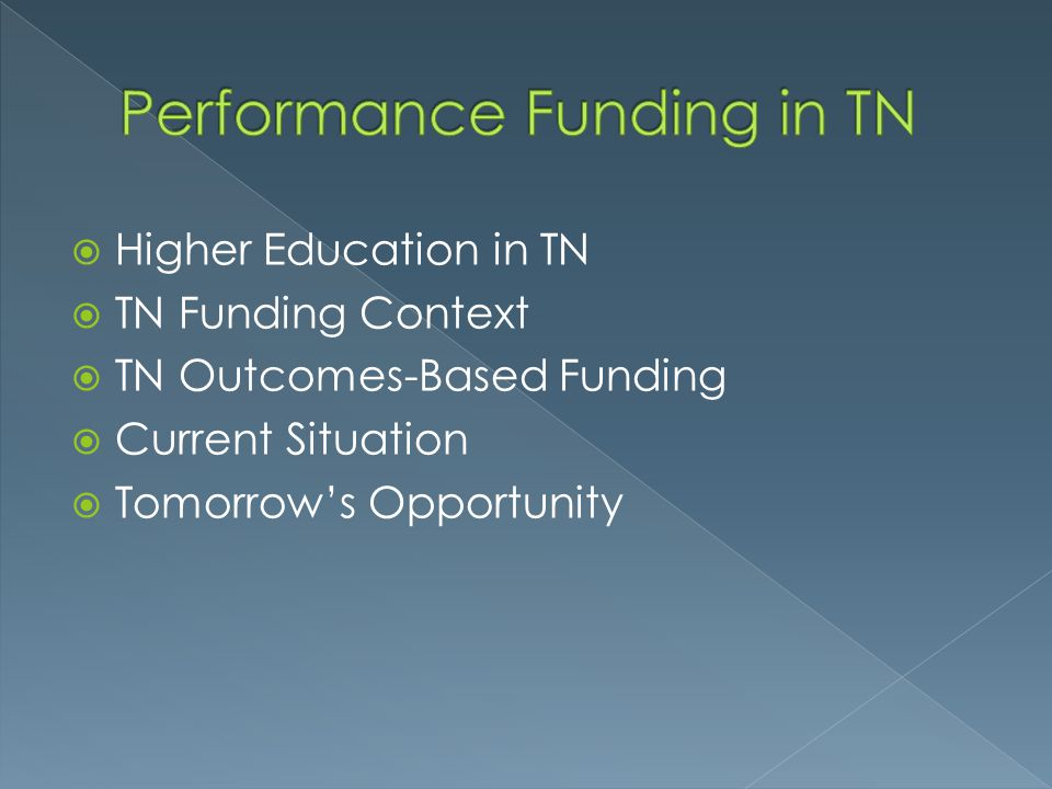Performance Funding in TN