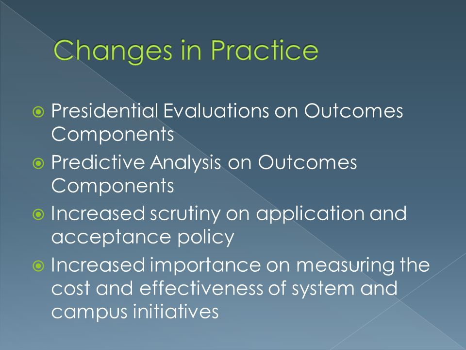 Changes in Practice Presidential Evaluations on Outcomes Components