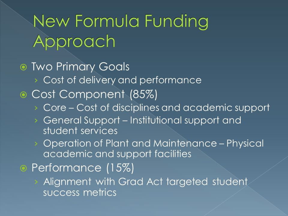 New Formula Funding Approach