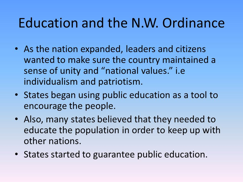 Education and the N.W. Ordinance