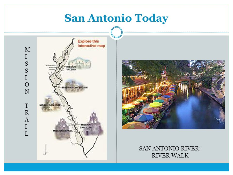 San Antonio Today MISSION TRAIL SAN ANTONIO RIVER: RIVER WALK