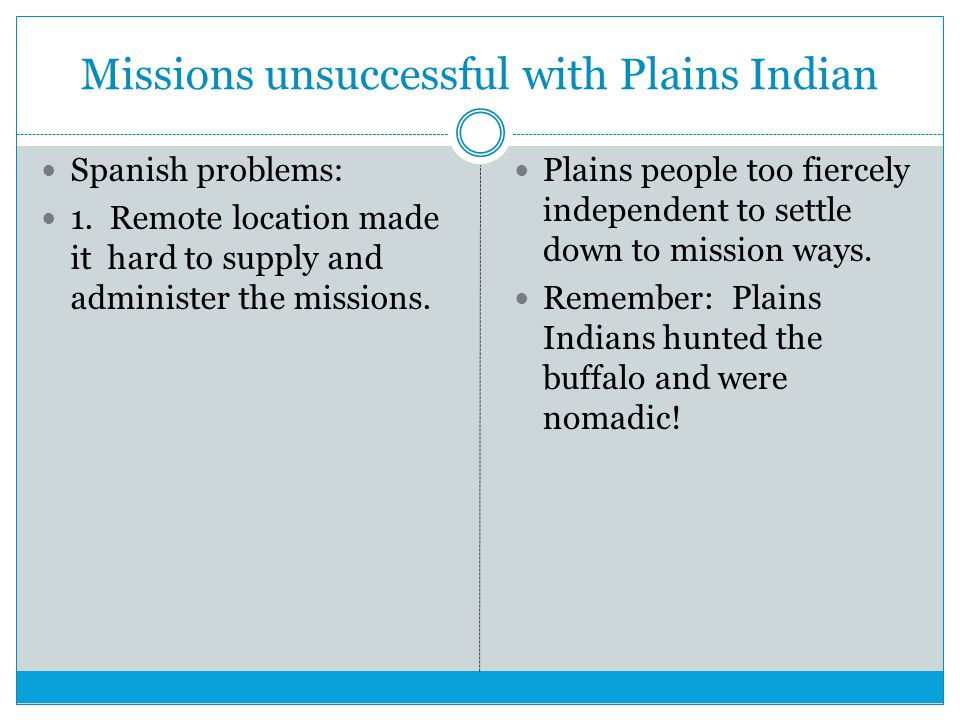 Missions unsuccessful with Plains Indian