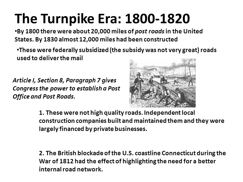 The Turnpike Era: 1800-1820