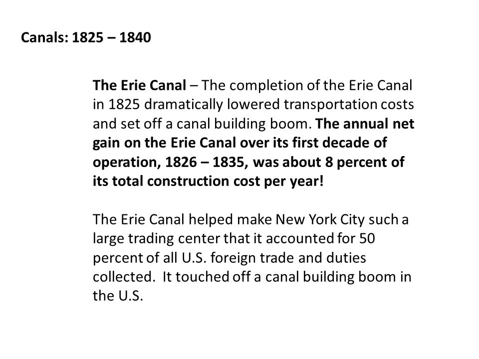 Canals: 1825 – 1840