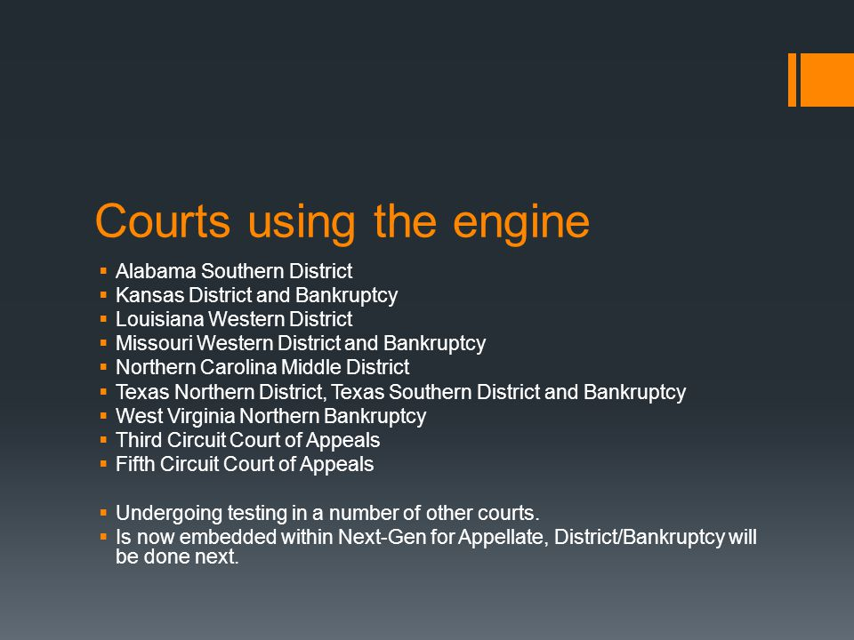 Courts using the engine