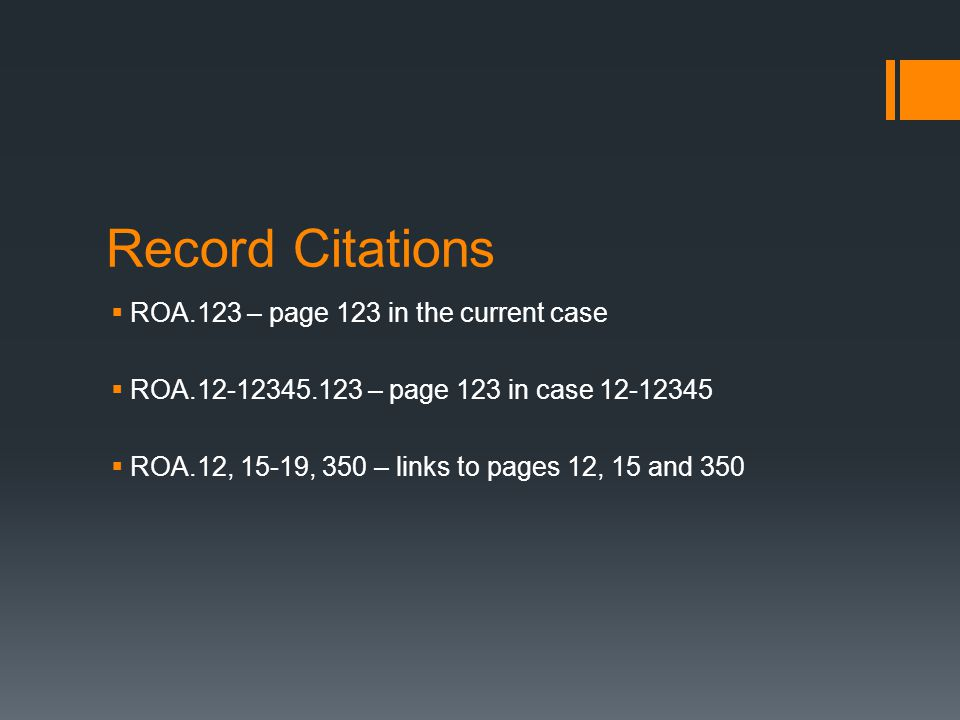 Record Citations ROA.123 – page 123 in the current case