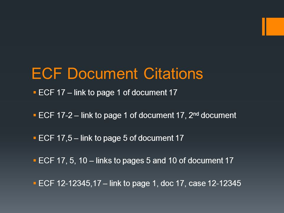 ECF Document Citations