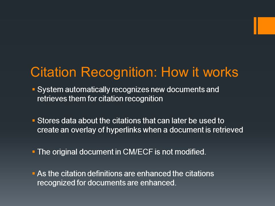 Citation Recognition: How it works