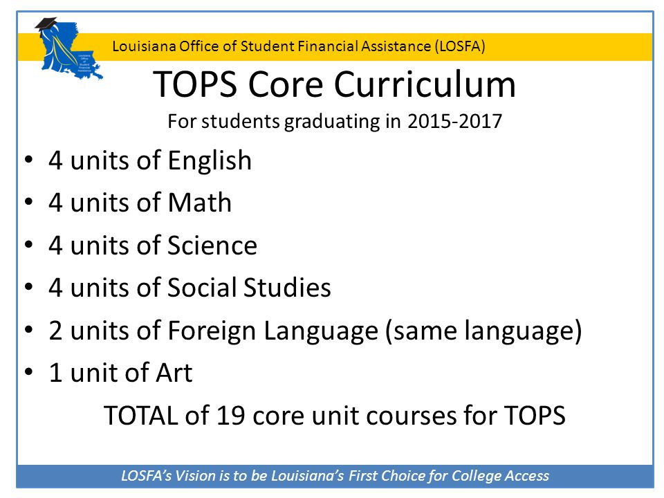 TOPS Core Curriculum For students graduating in 2015-2017