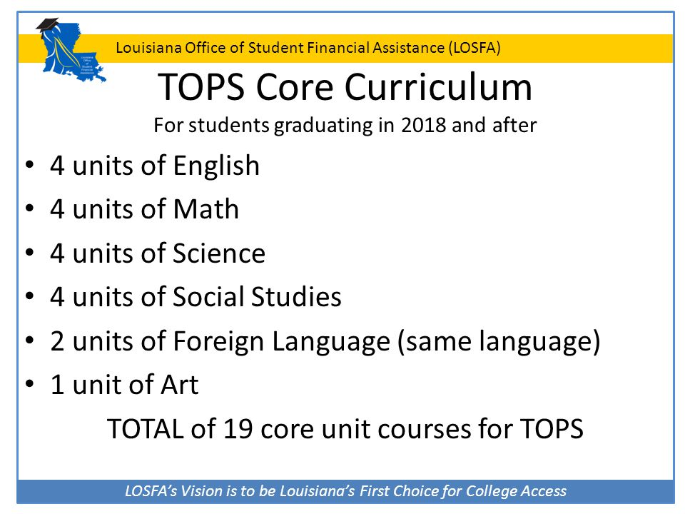 TOPS Core Curriculum For students graduating in 2018 and after