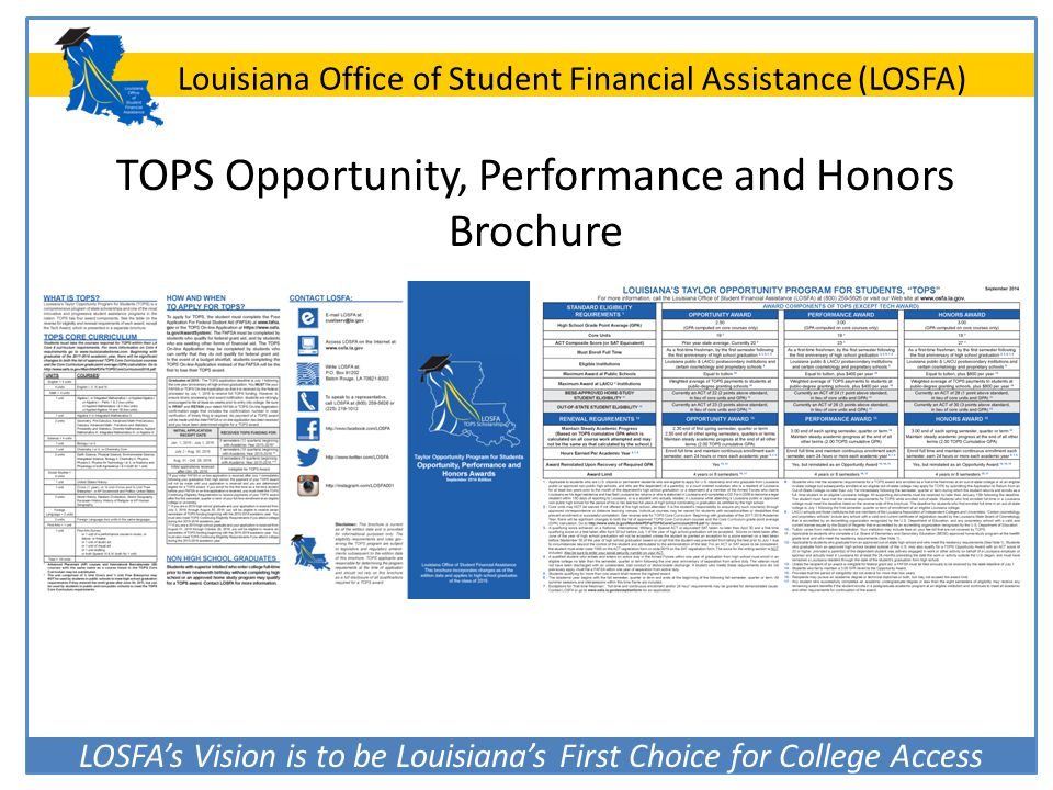 TOPS Opportunity, Performance and Honors Brochure